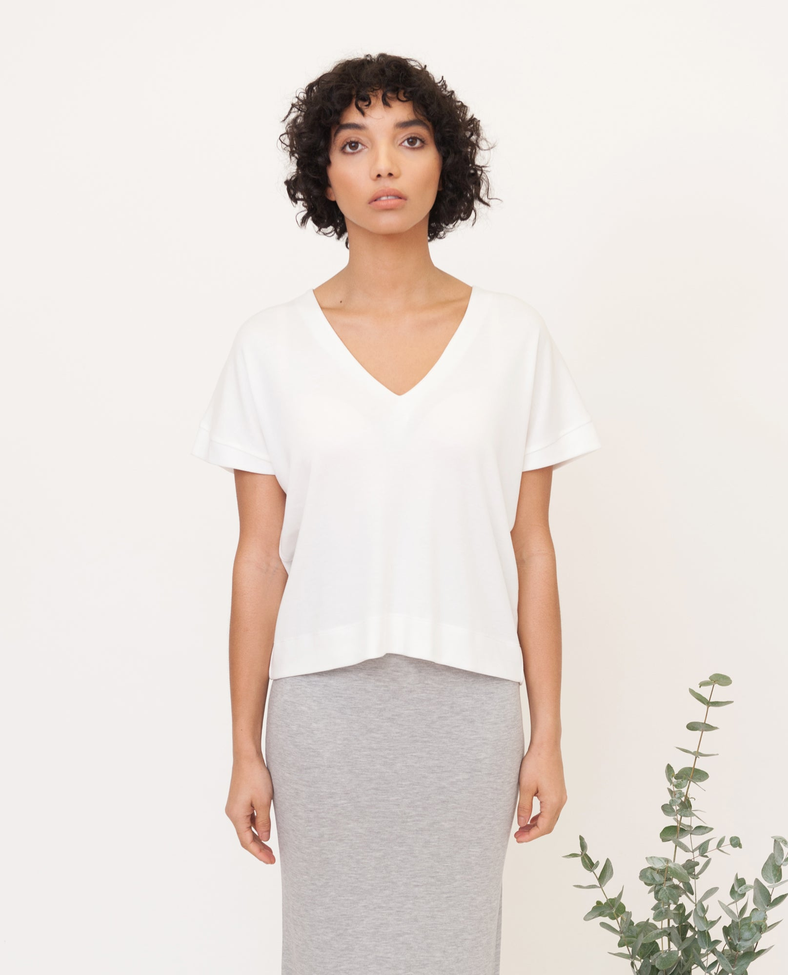 JOYCE Lyocell Jersey Top In Off White from Beaumont Organic