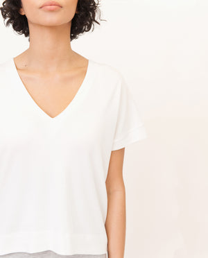 JOYCE Lyocell Jersey Top In Off White