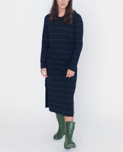 JUDY Organic Cotton Dress In Navy And Dark Grey