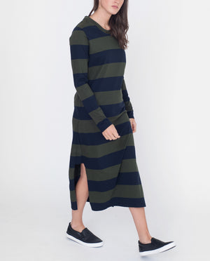 JUDY Organic Cotton Dress In Navy And Green Stripe