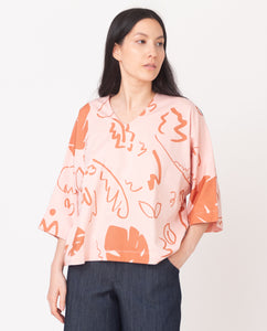 JULIA-PAIGE Organic Cotton Top In Coral And Terracotta