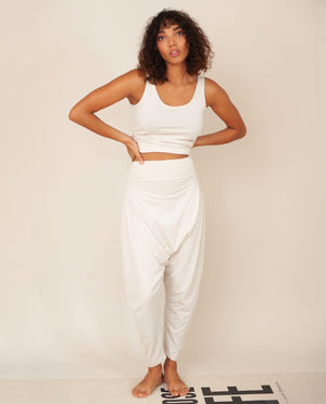 Kachina Organic Cotton Yoga Hareem Trousers In Beige