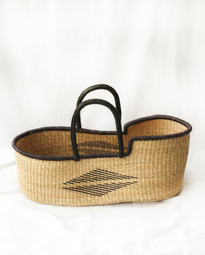KOJO Handwoven Moses Basket with Leather Handles