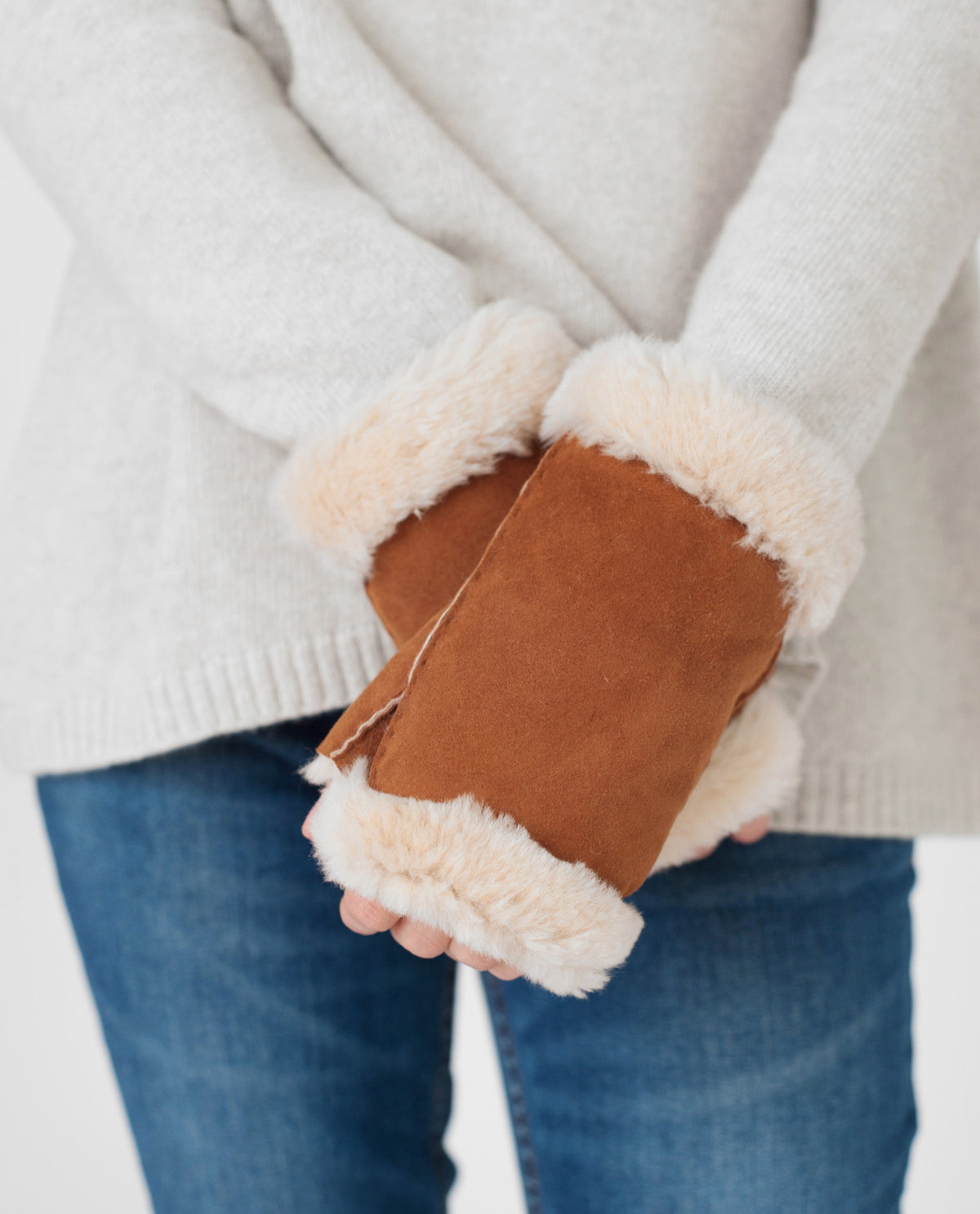 KEELY Sheepskin Fingerless Mittens