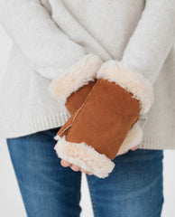KEELY Sheepskin Fingerless Mittens In Tan