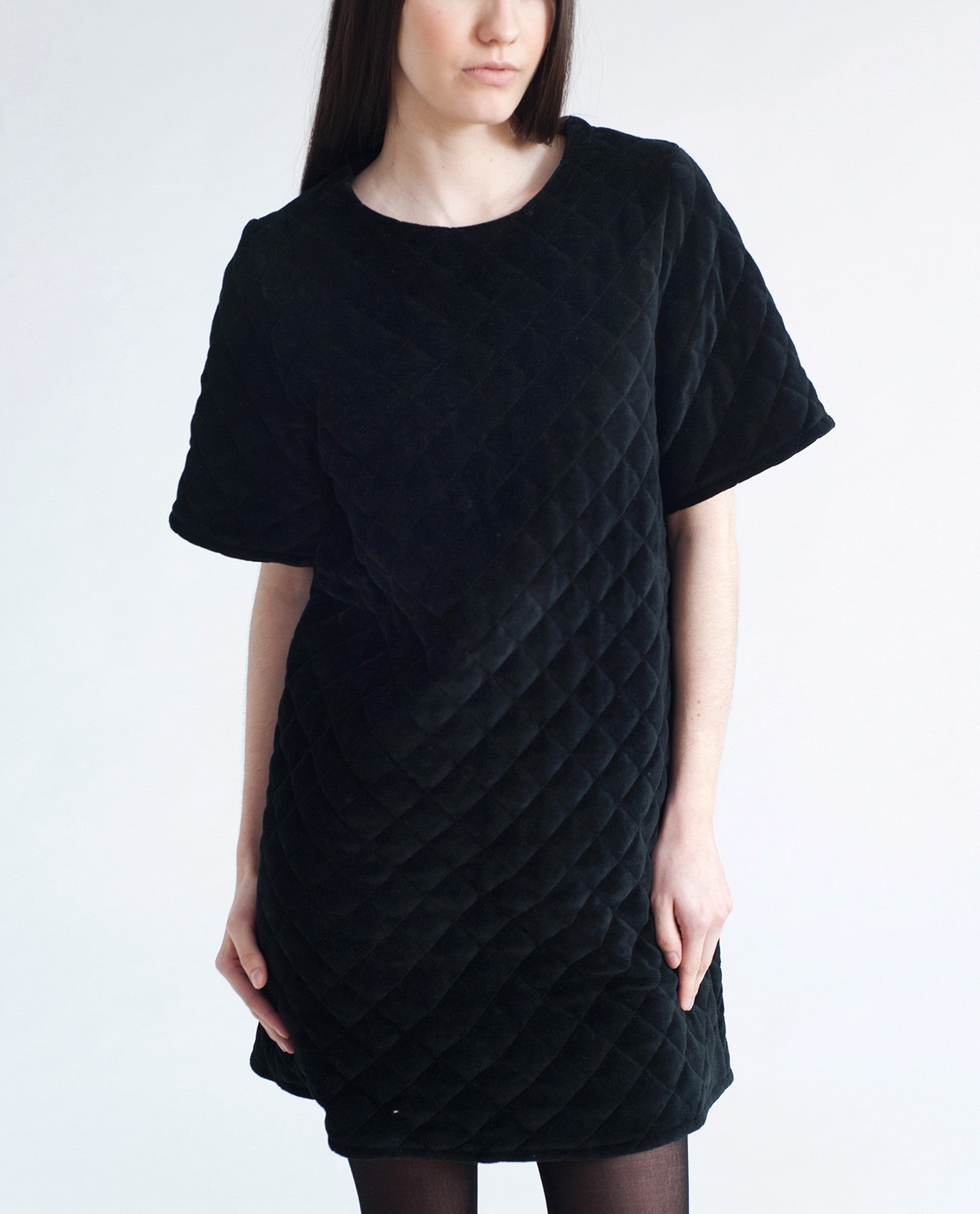 KEIKO Cotton Velvet Quilted Dress In Black