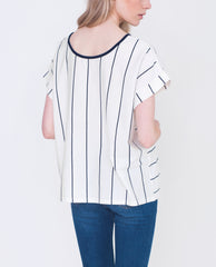 KENNEDY Organic Cotton Reversible Top In Off White And Navy