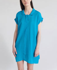 LOTUS Cotton And Silk Dress In Bright Blue