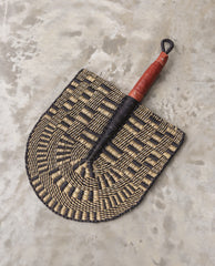 LUMUSI Straw Hand Fan With Leather Handle