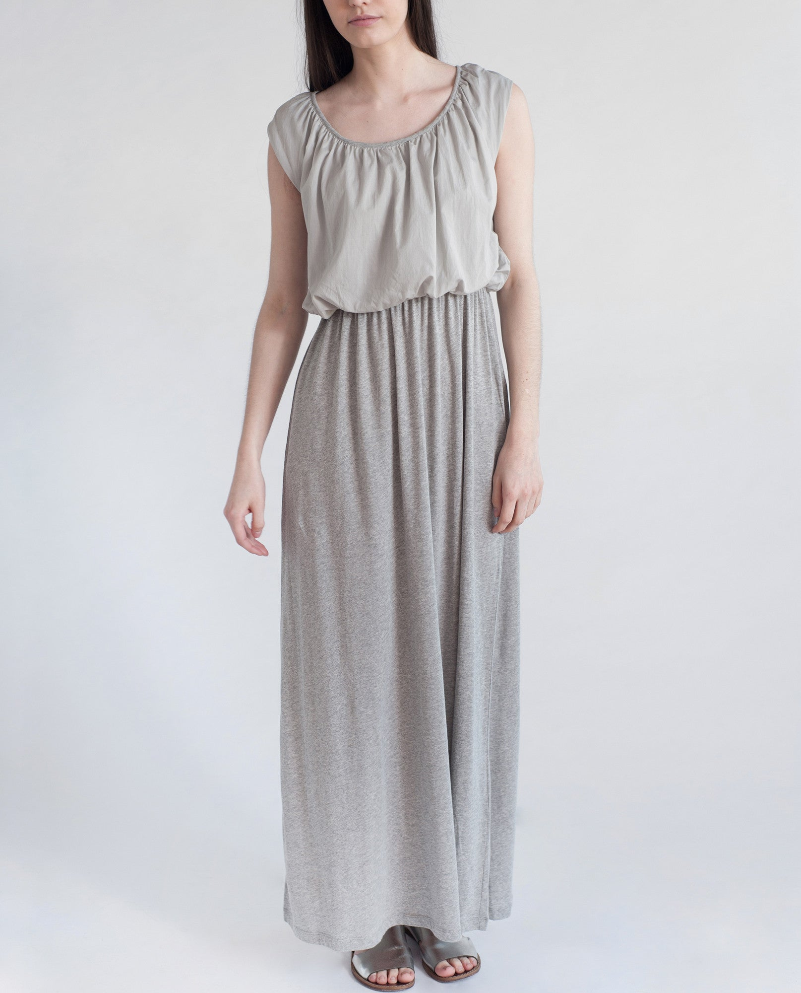 LABURNUM Organic Cotton Maxi Dress In Light Grey from Beaumont Organic