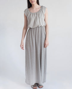 LABURNUM Organic Cotton Maxi Dress In Light Grey
