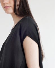 LAVENDER Linen And Organic Cotton Top In Black