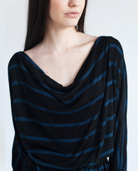 LEONA Bamboo Striped Dress In Black & Blue Stripe
