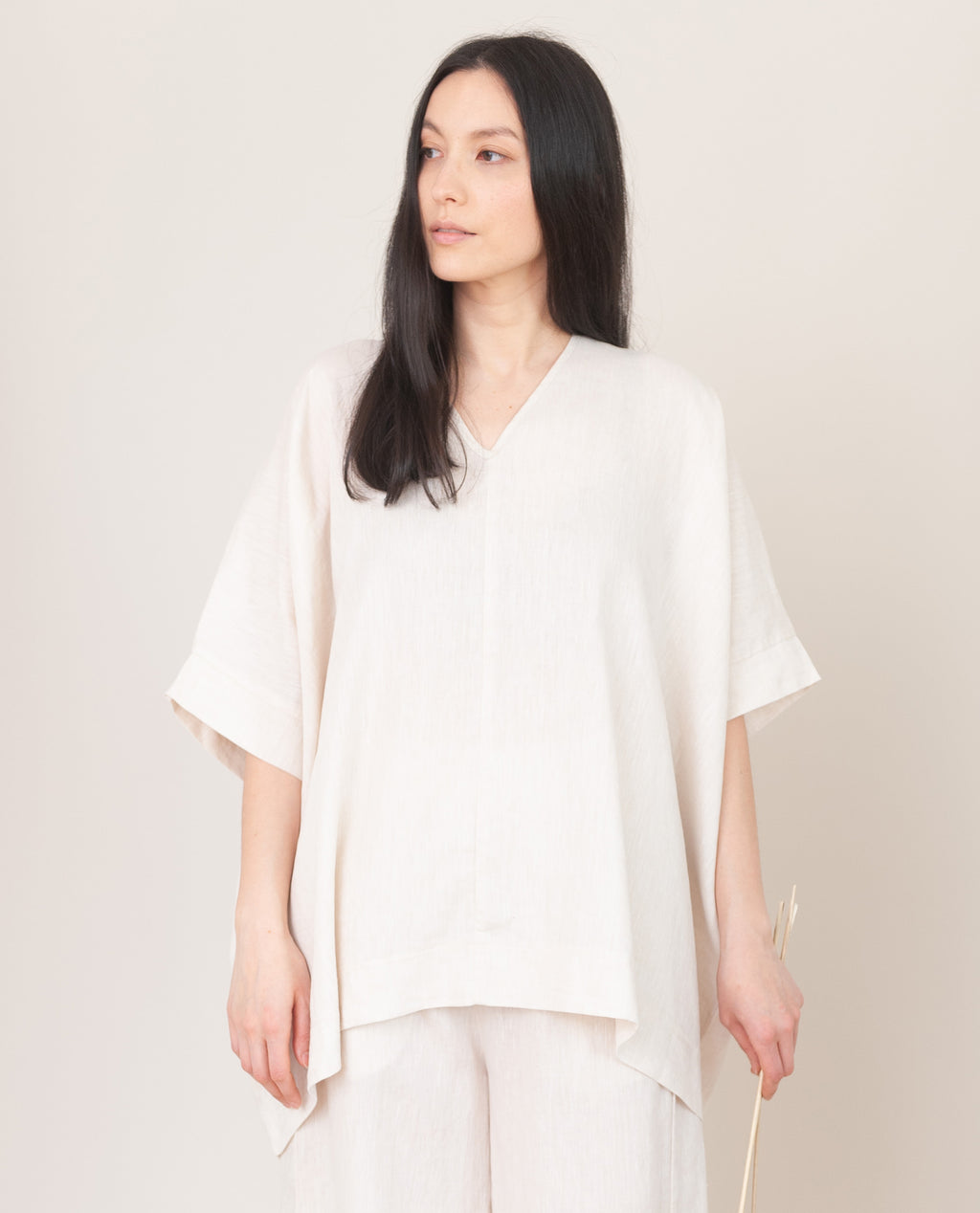LEONOR Linen Top In Cream