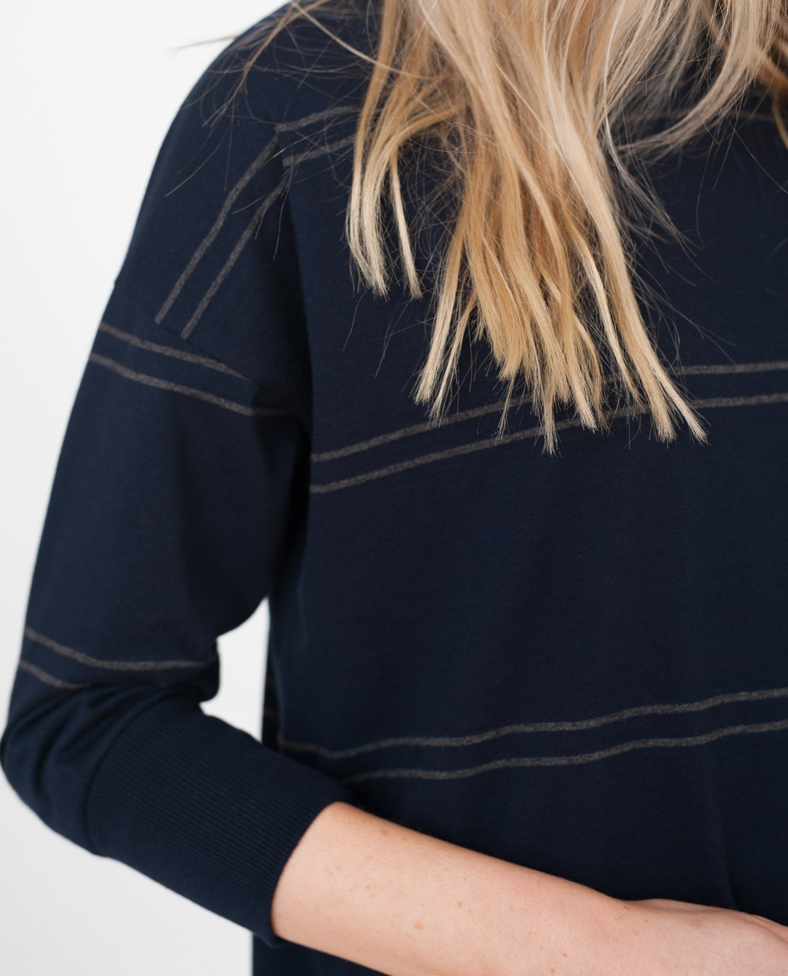 LILLY-ELLA Organic Cotton Top In Navy And Dark Grey