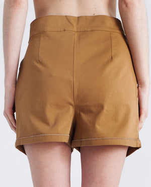 LINNEA Cotton Canvas Shorts In Gold