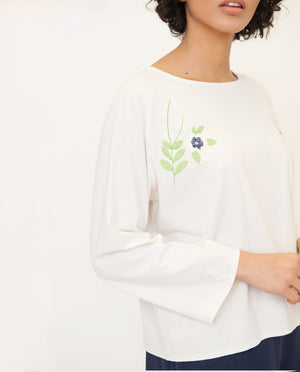 LORELAI Organic Cotton Top In Off White