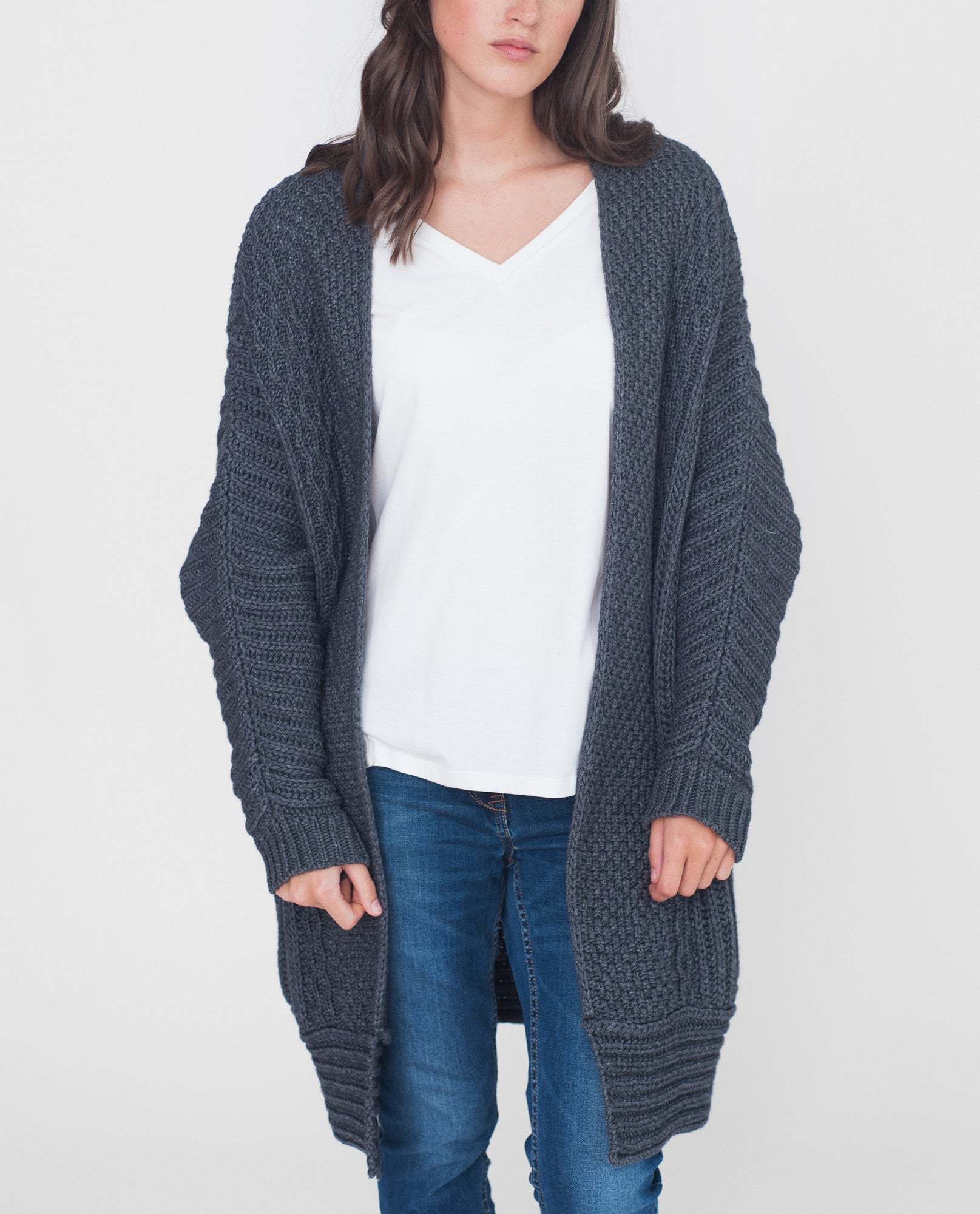 LUCINDA Wool and Cashmere Cardigan In Dark Grey