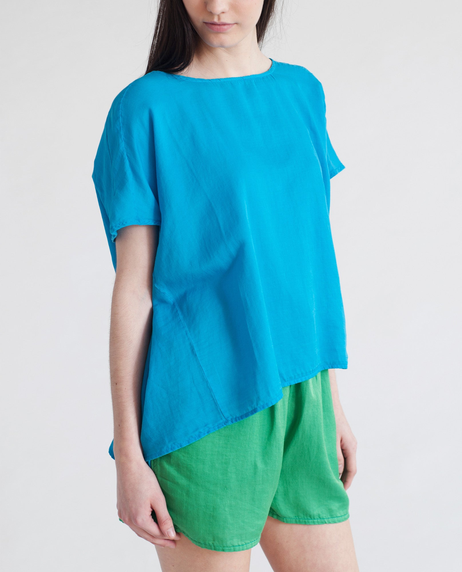 LYNAE Cotton And Silk Top In Bright Blue