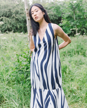 Madelyn-Paige Organic Cotton Dress In Off White & Midnight