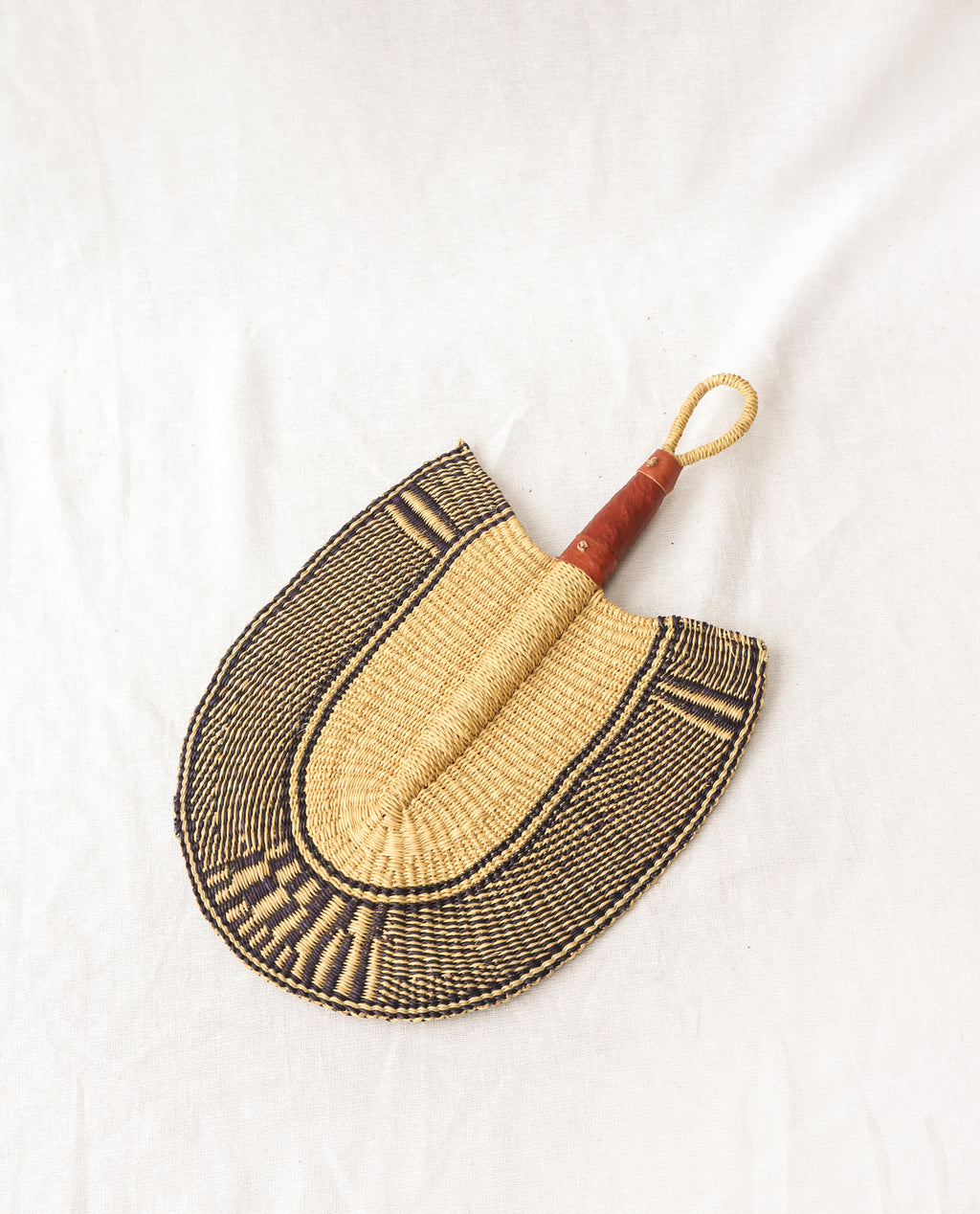 MAGEL Straw Hand Fan With Leather Handle