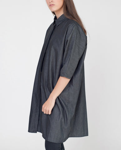 MADELINE Cotton Chambray Shirt In Black