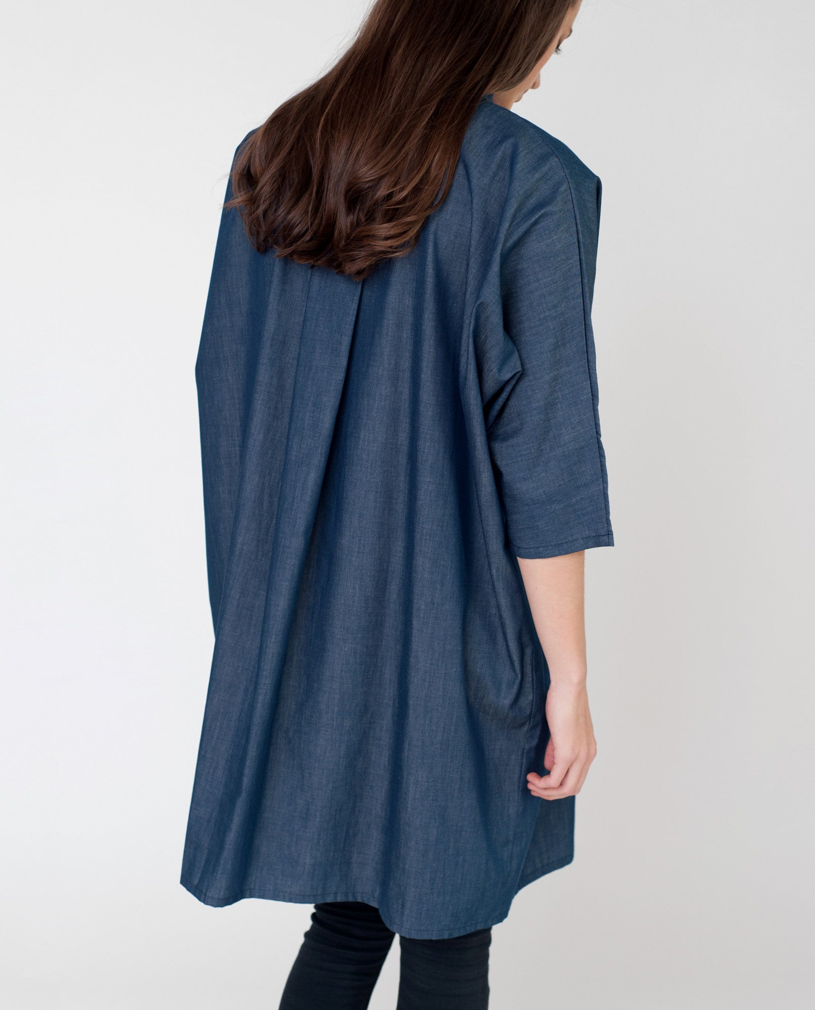 MADELINE Cotton Chambray Shirt In Navy