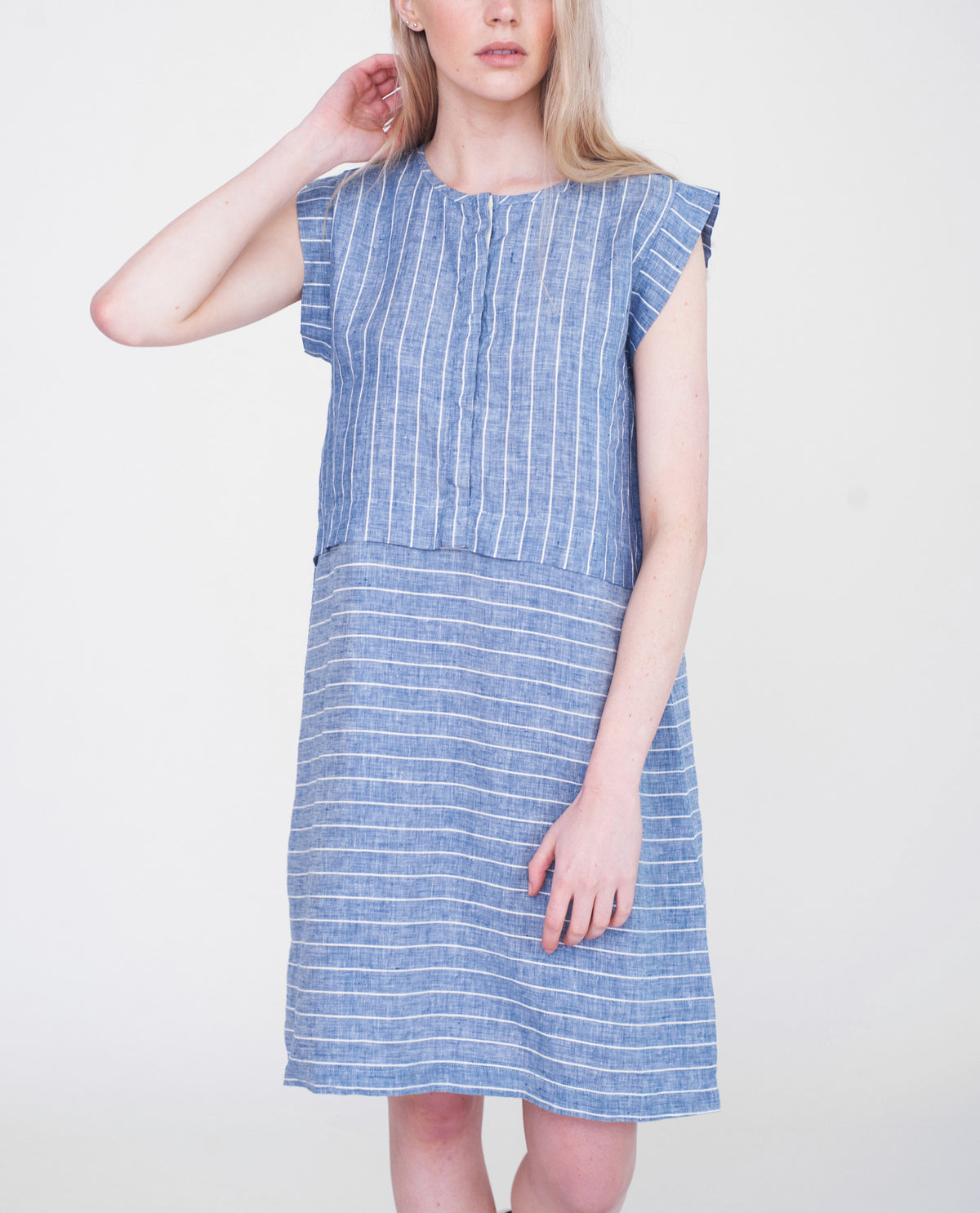 MAKAYLA Linen Striped Dress