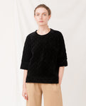 MARA Quilted Velvet Top In Black
