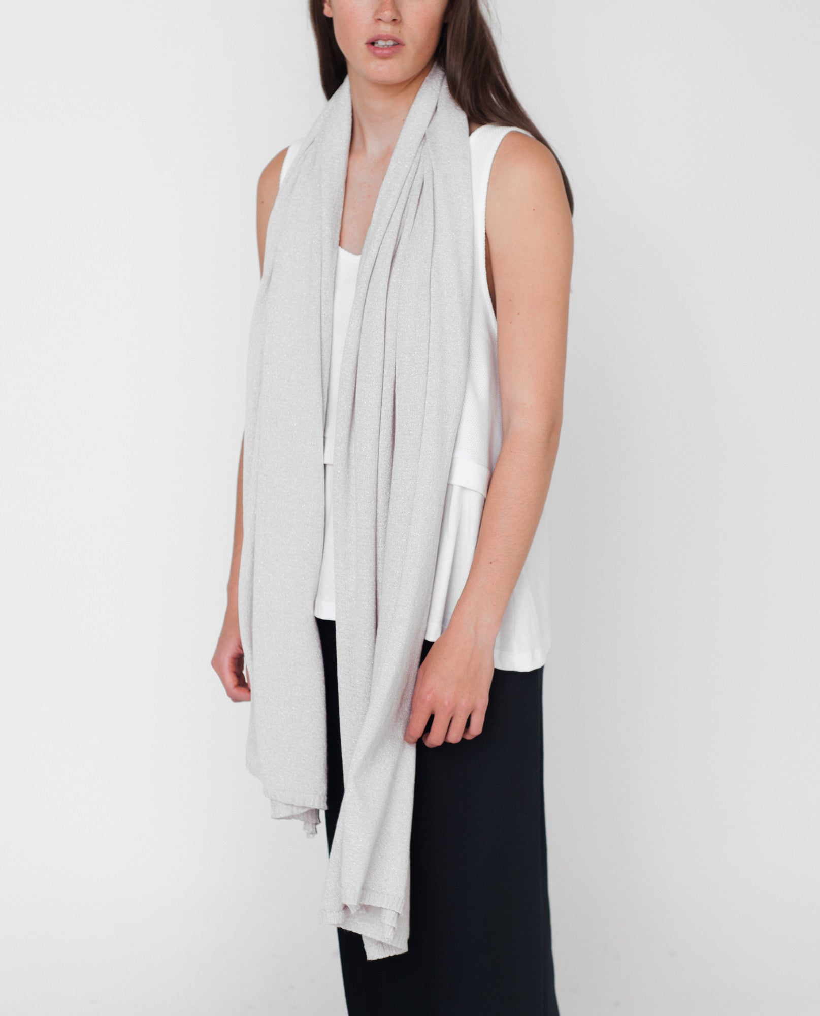 MARABEL Lurex Knitted Scarf