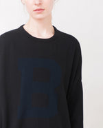 MARLO Cotton Varsity Jumper In Black And Navy