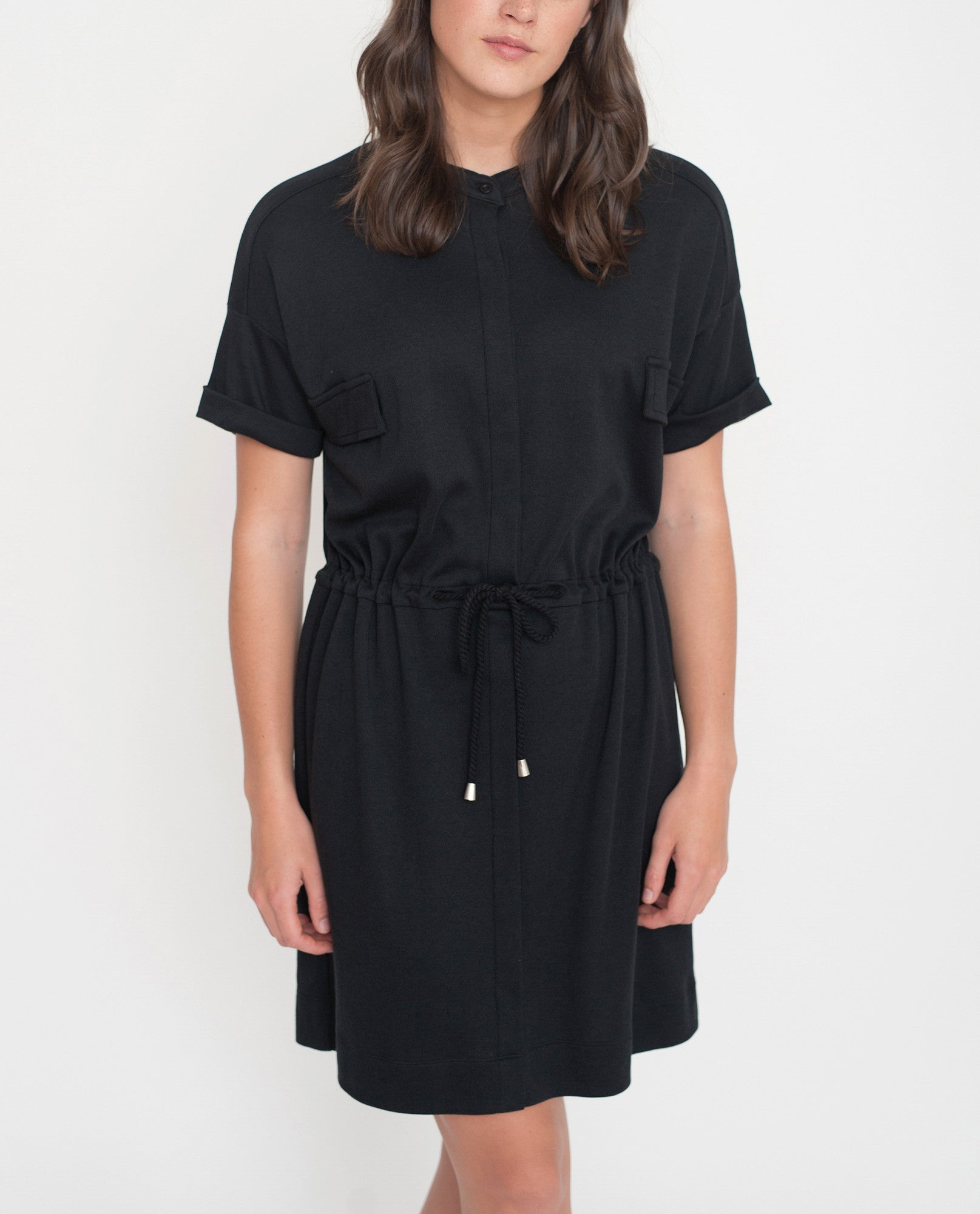 MILA Lyocell And Cotton Shirt Dress In Black from Beaumont Organic