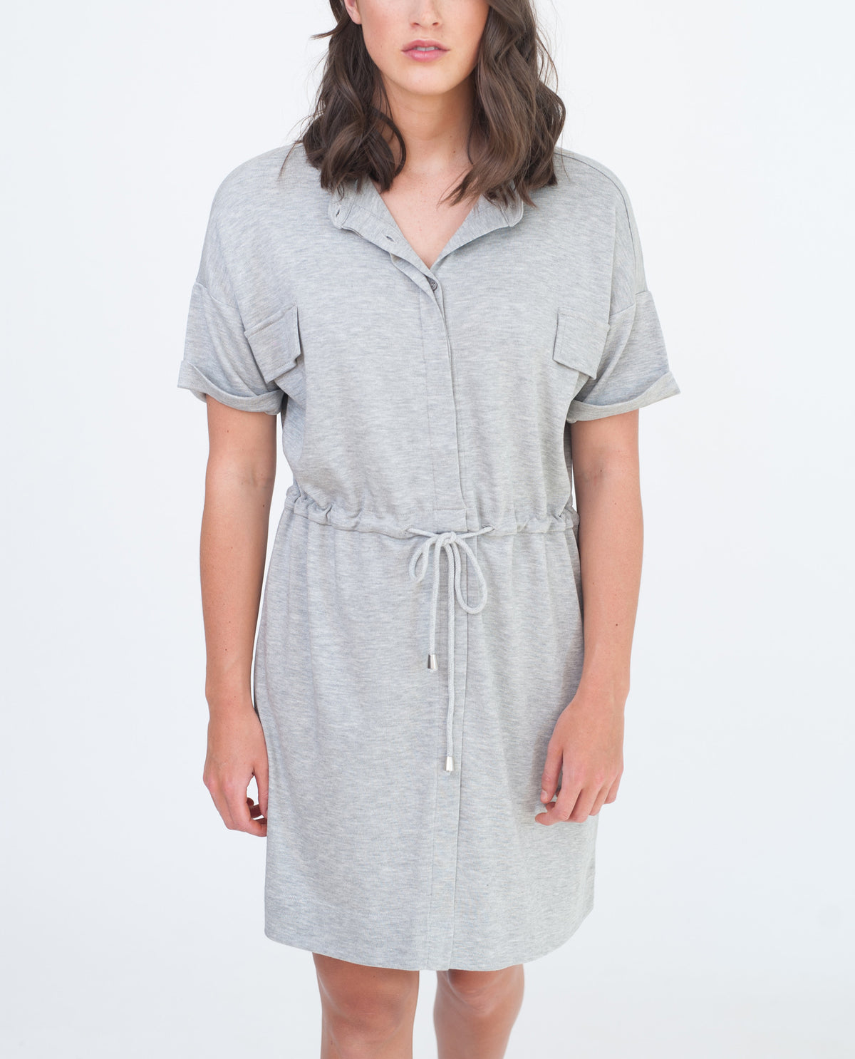 MILA Lyocell And Cotton Shirt Dress In Light Grey