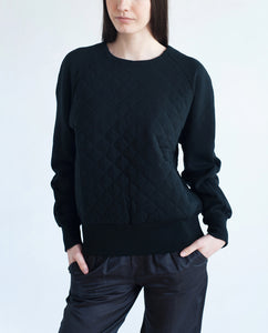 MOLLY Cotton Quilted Sweatshirt In Black