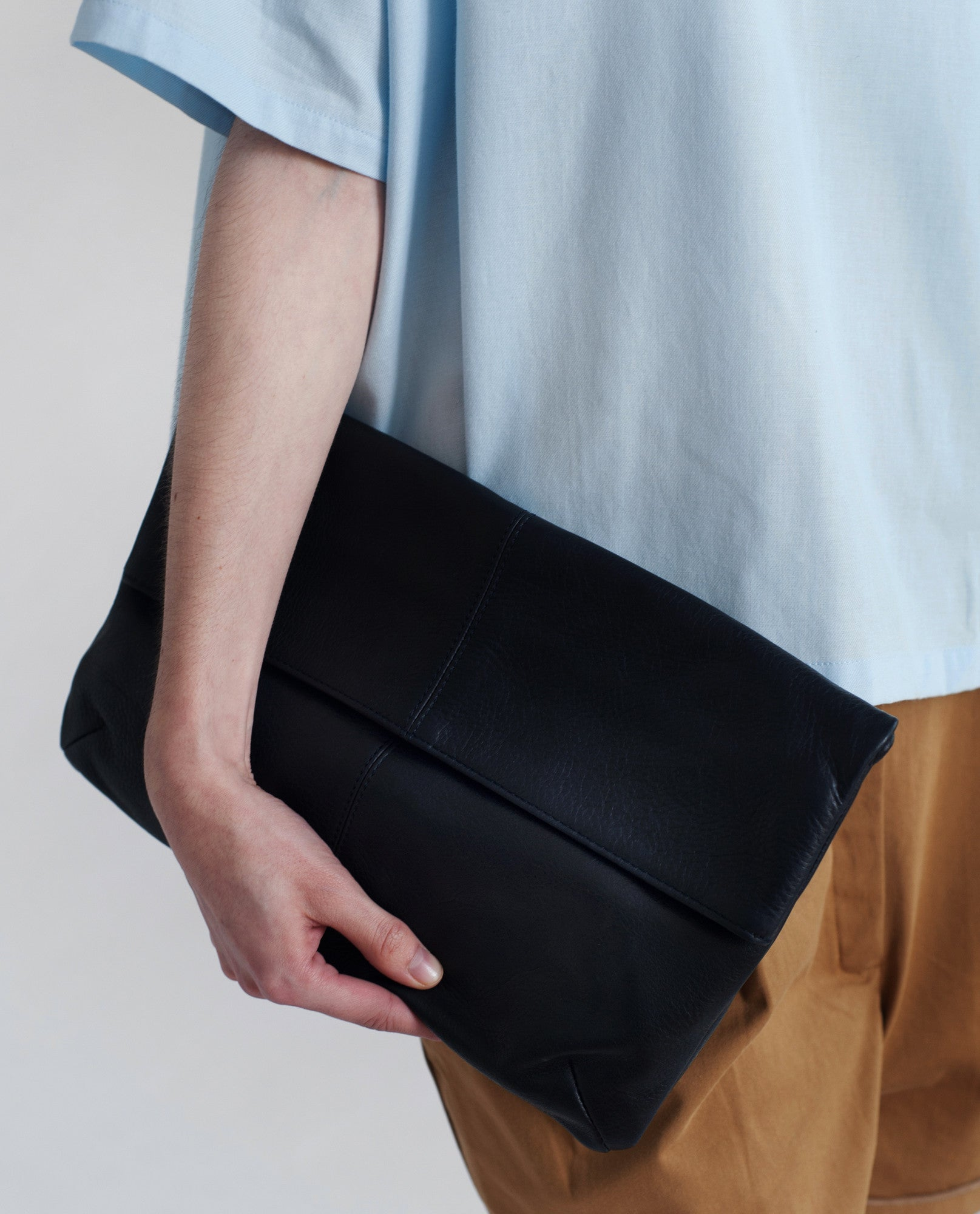 MONACO Leather Fold Over Clutch In Black