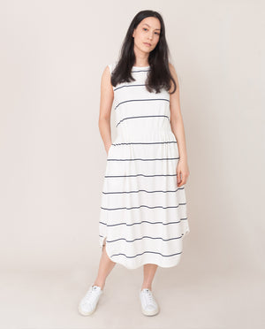 MULBERRY-SUE Organic Cotton Dress In Off White and Indigo