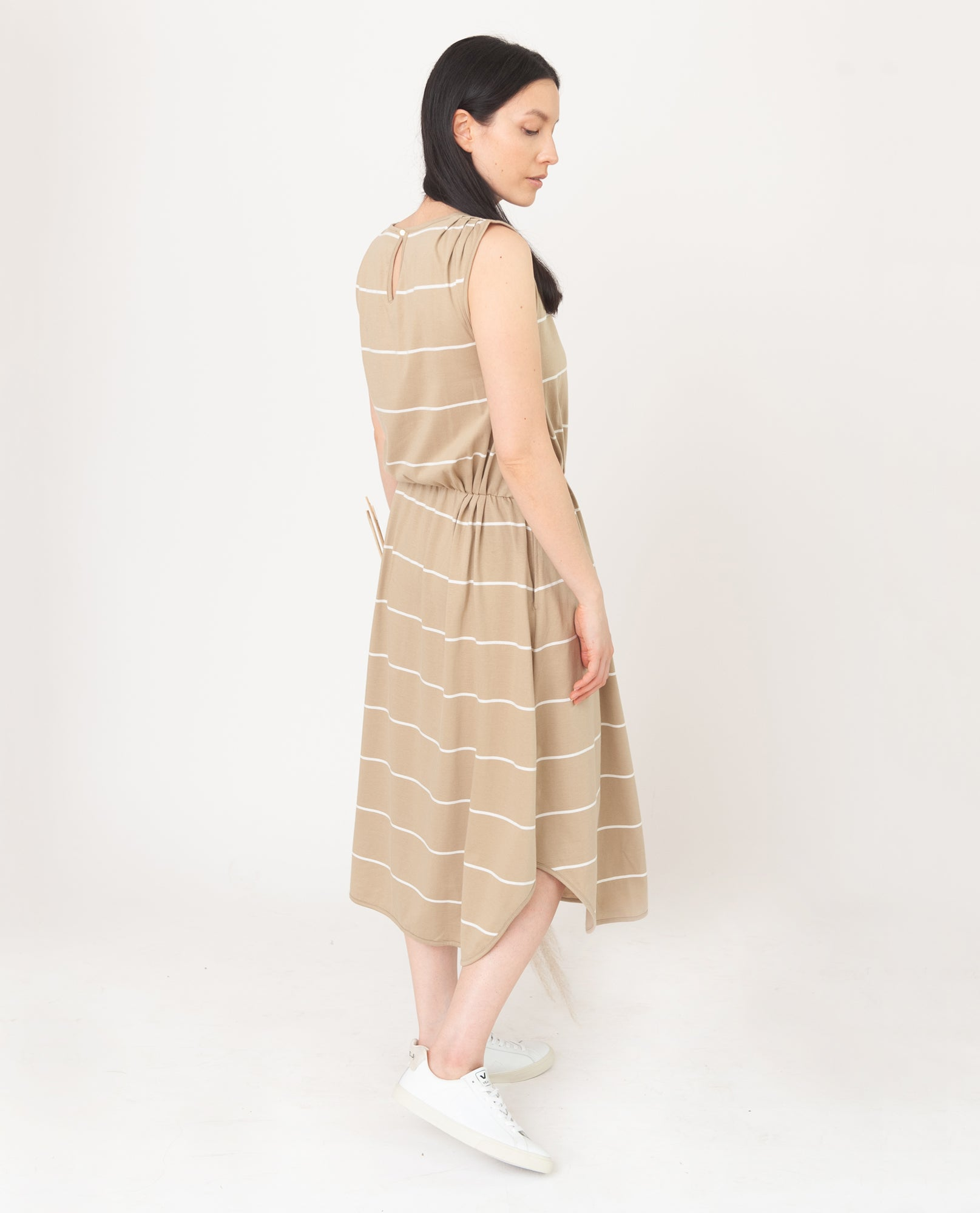 MULBERRY-SUE Organic Cotton Dress in Sand And Ecru