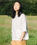 Naomi-May Organic Cotton & Linen Shirt In Off White