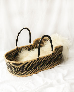 NEEMA Handwoven Moses Basket With Leather Handles