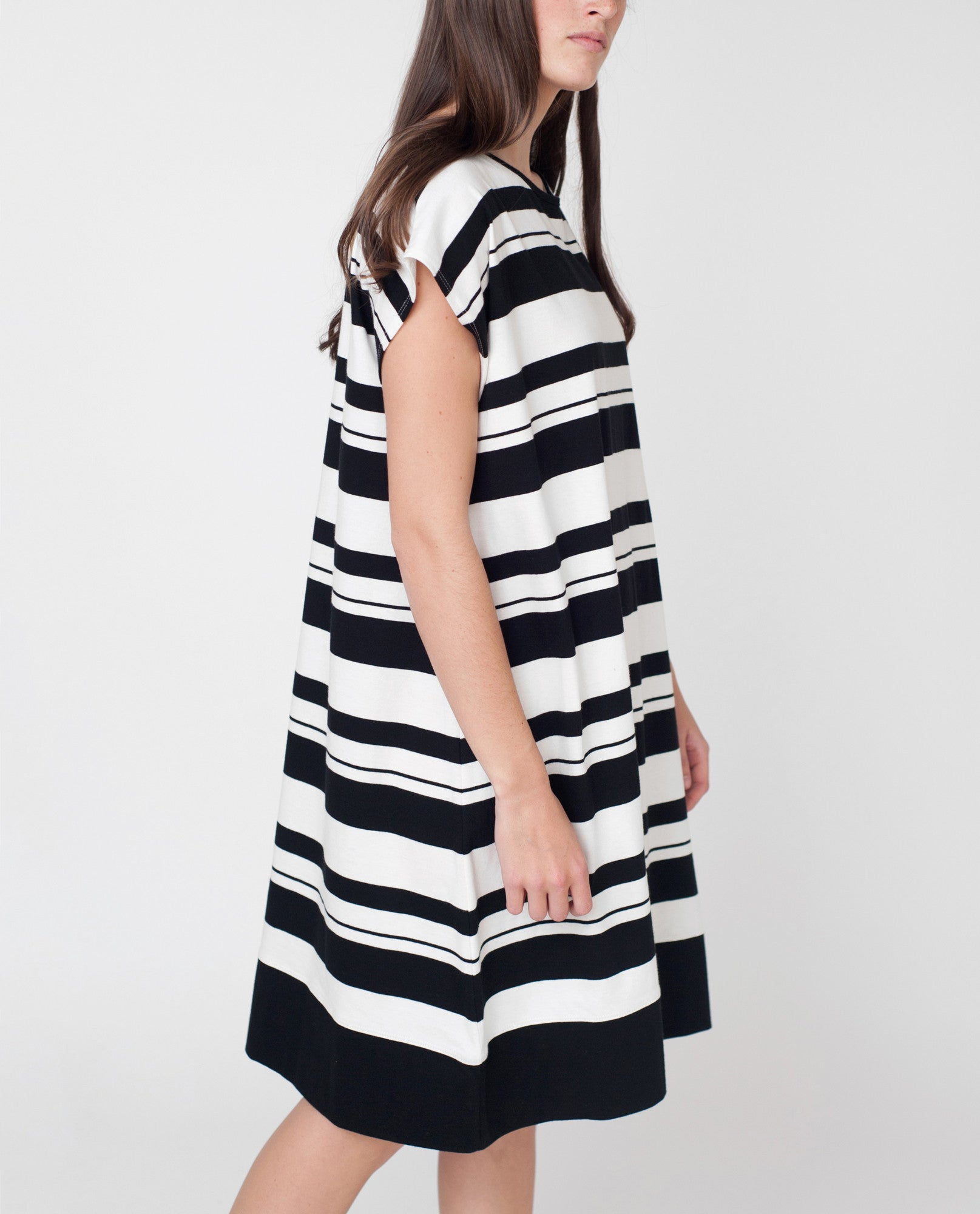 NANCY Organic Cotton Dress In Black And Off White