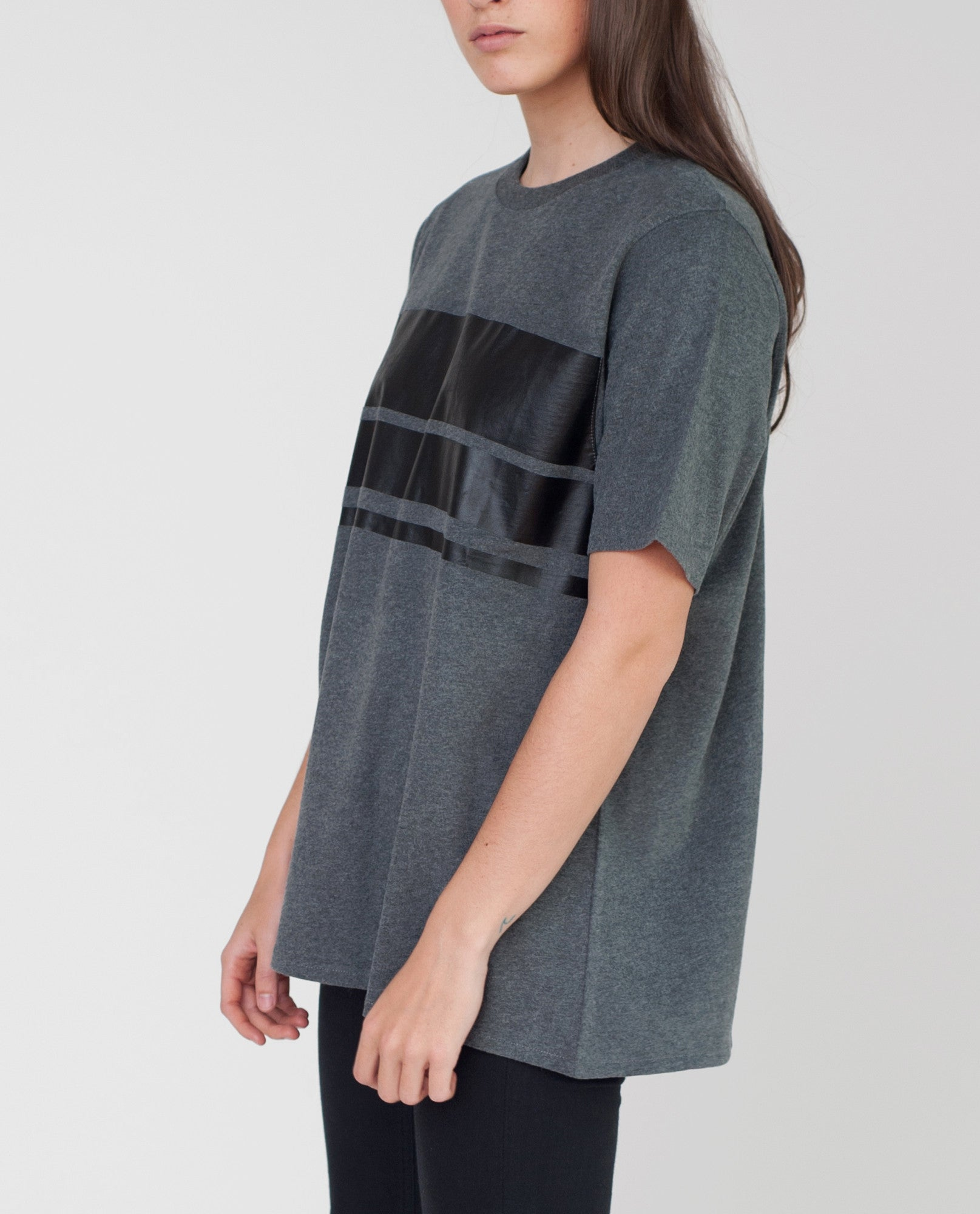 OLIVE Organic Cotton Print Tshirt In Dark Grey