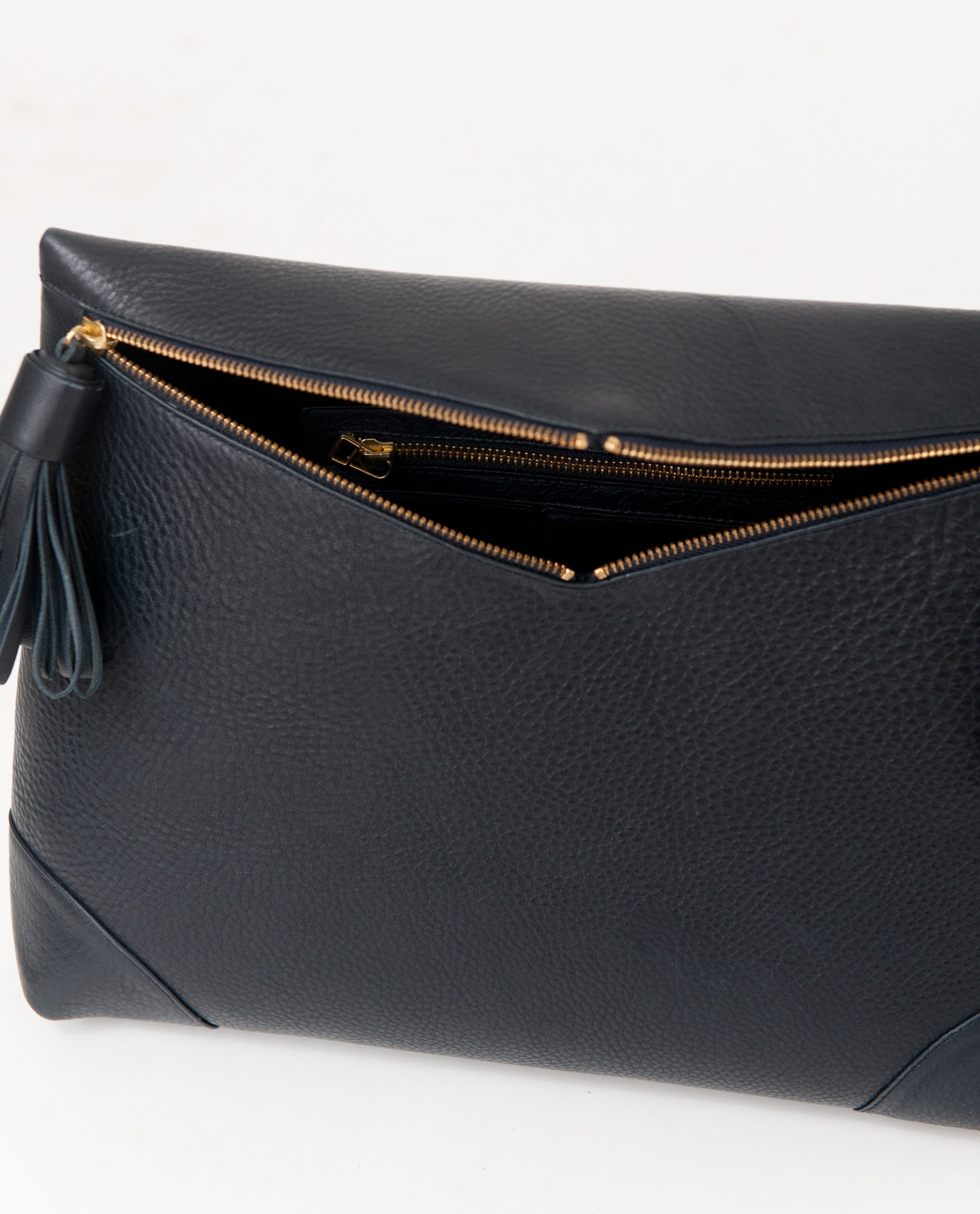 PORTO Leather Oversized Clutch In Navy