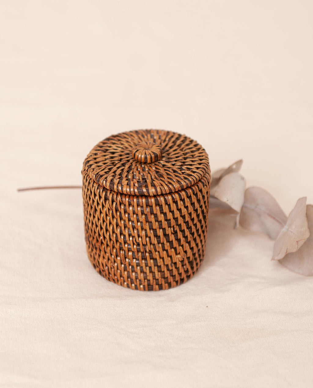PUTRI Dark Brown Rattan Mini Lidded Pot