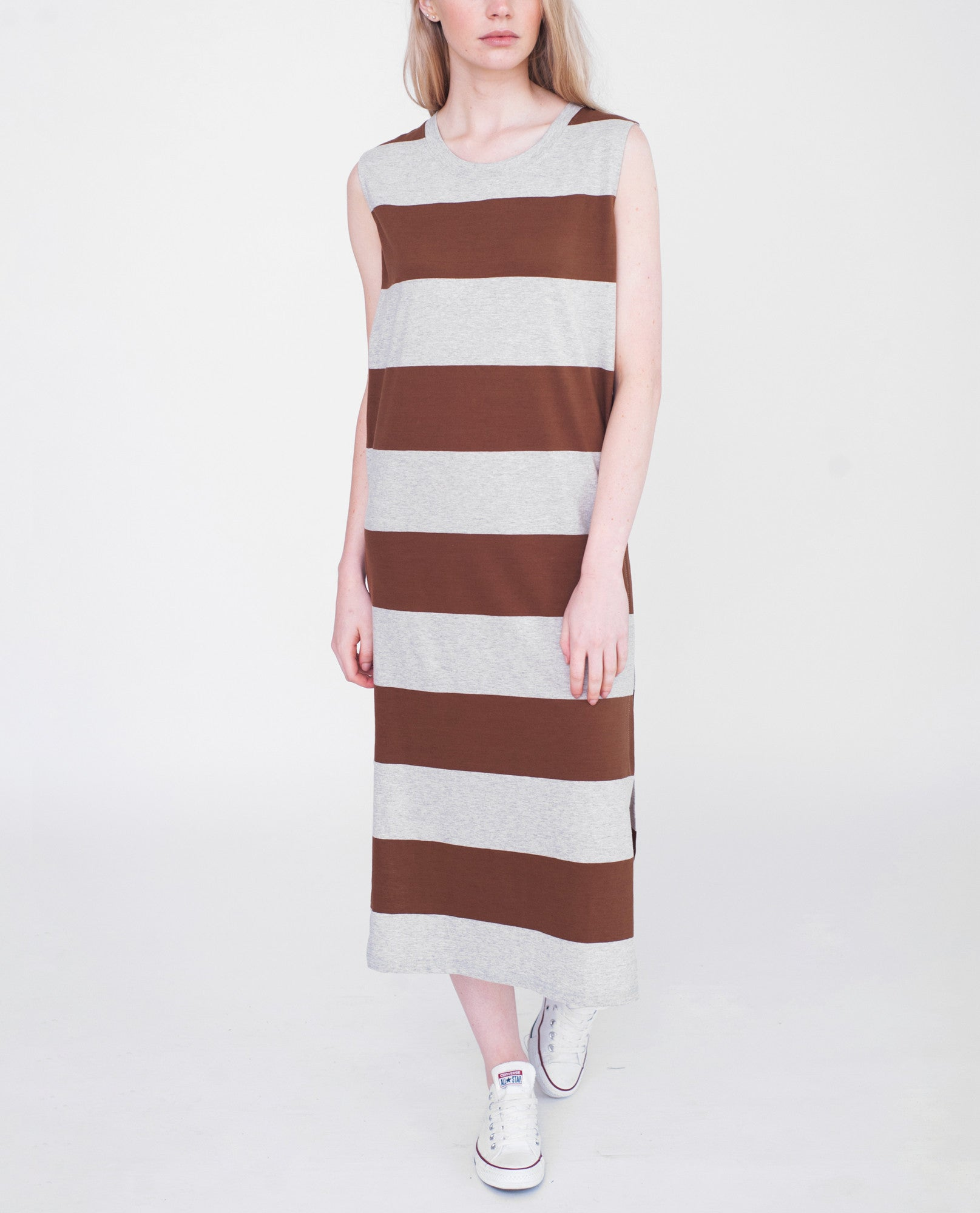 PIPER Organic Cotton Dress In Light Grey And Brown from Beaumont Organic