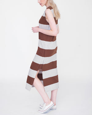 PIPER Organic Cotton Dress In Light Grey And Brown