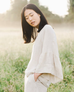 Rita-May Linen Top In Bone
