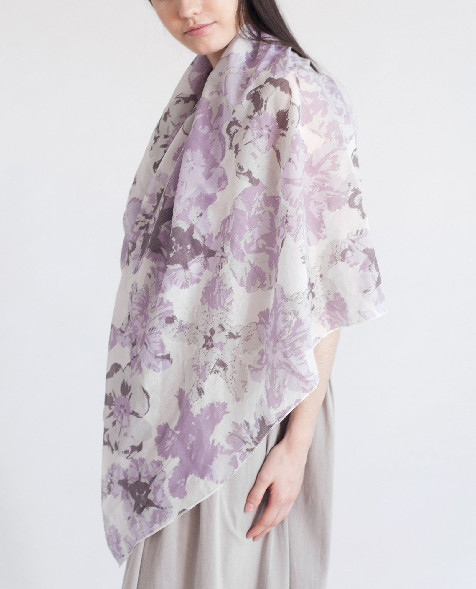 ROISIN Cotton Print Scarf In Purple