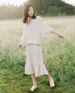Rose Linen Skirt In Bone