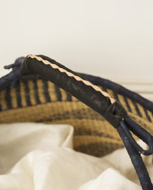 RUKA Round Straw Basket With Leather Detail Handles