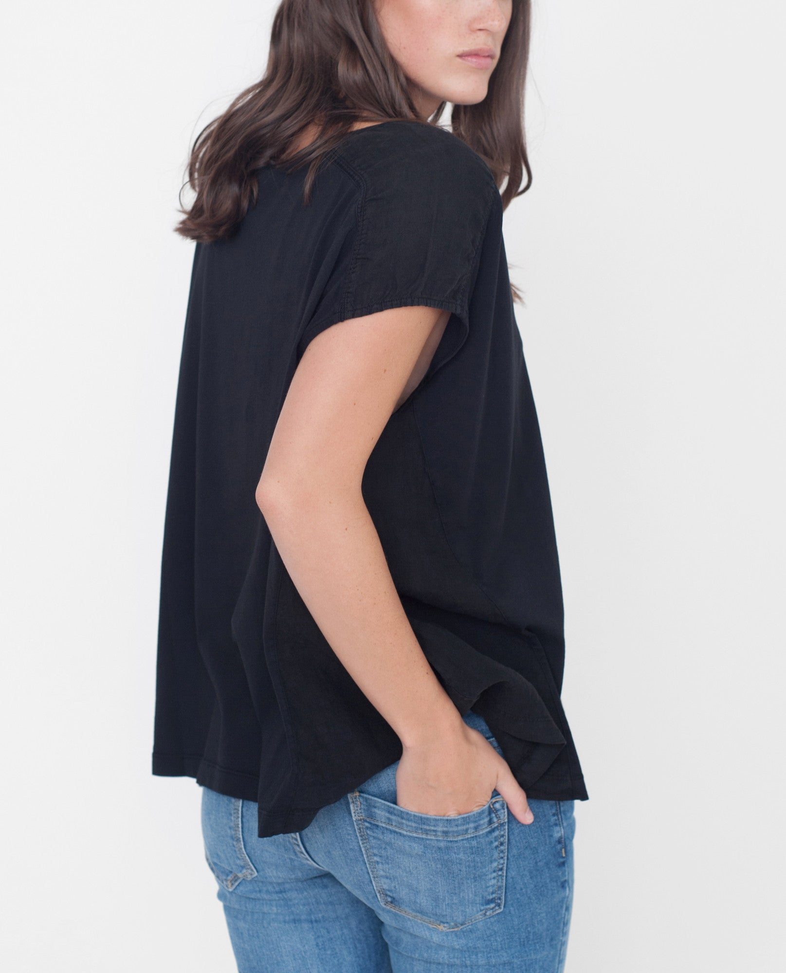 REESE Organic Cotton And Linen Top In Black